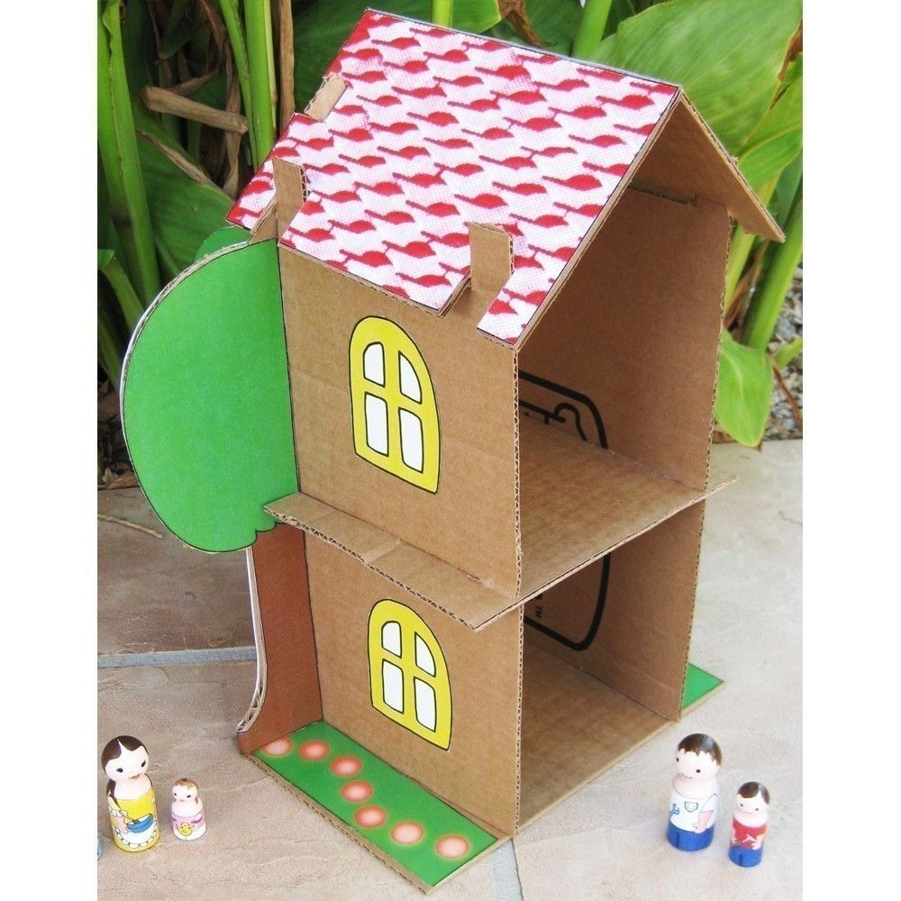 Papercraft Houses Cardboard Dollhouse Pdf Pattern Recycle Cardboard Boxes Diy toy