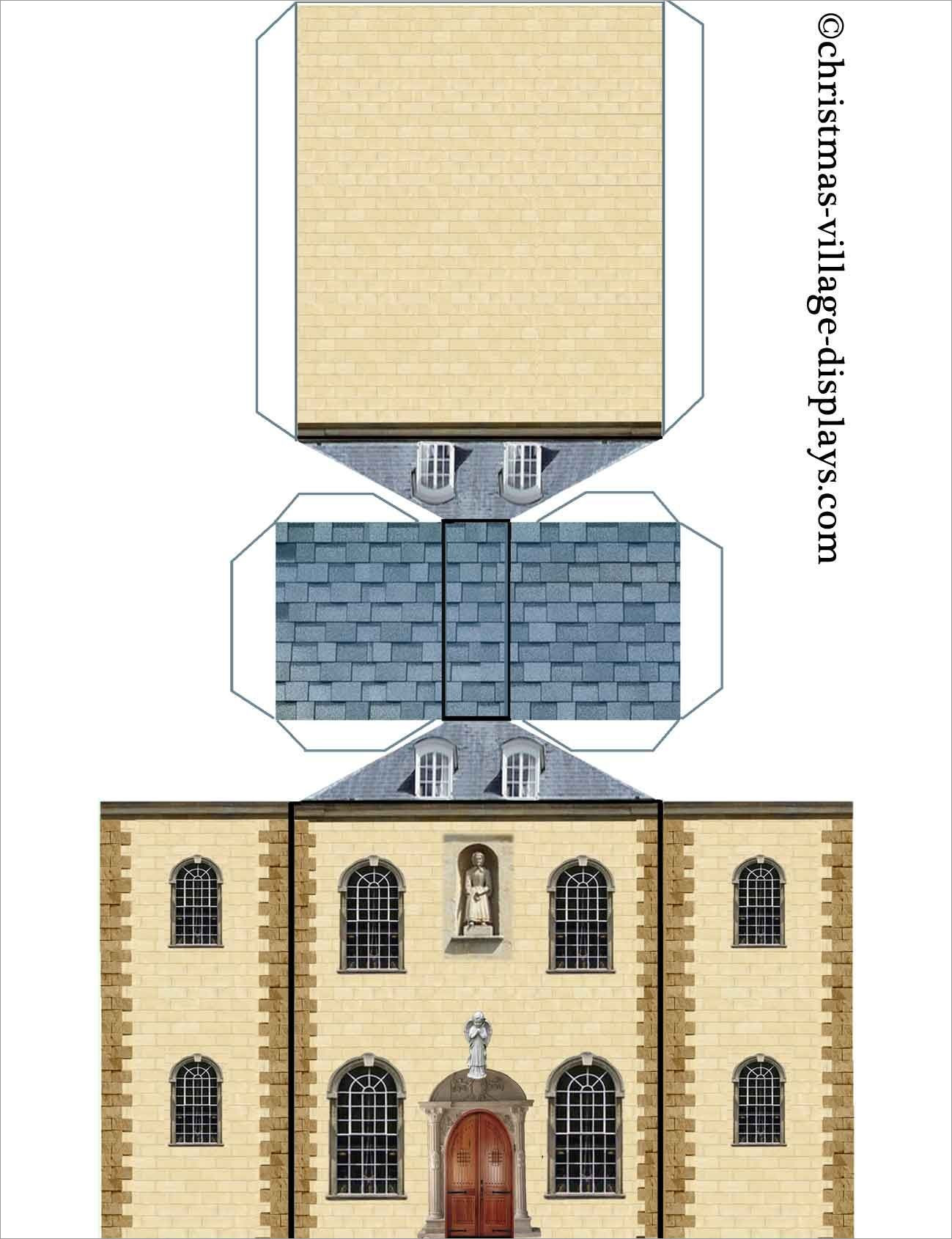 Papercraft Houses Haunted Mansion Papercraft Model House Template