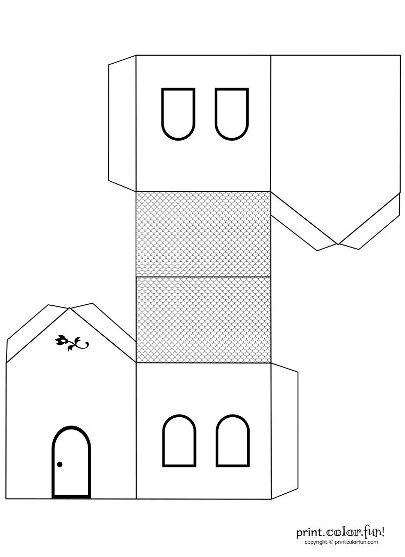 Papercraft Houses House Cutout Craft to Color