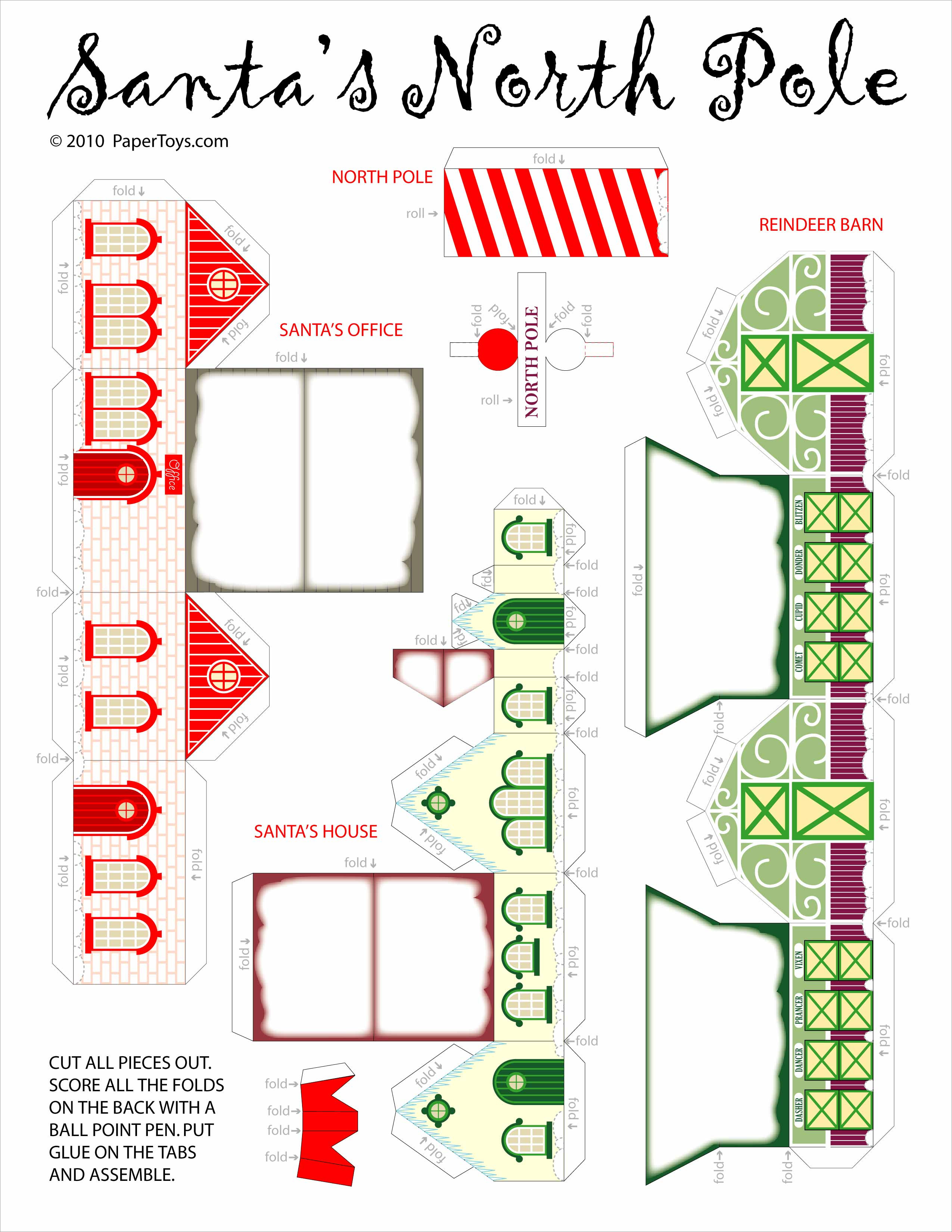 Papercraft Houses north Pole Craft Cut Out Free Printable 3d Papercraft