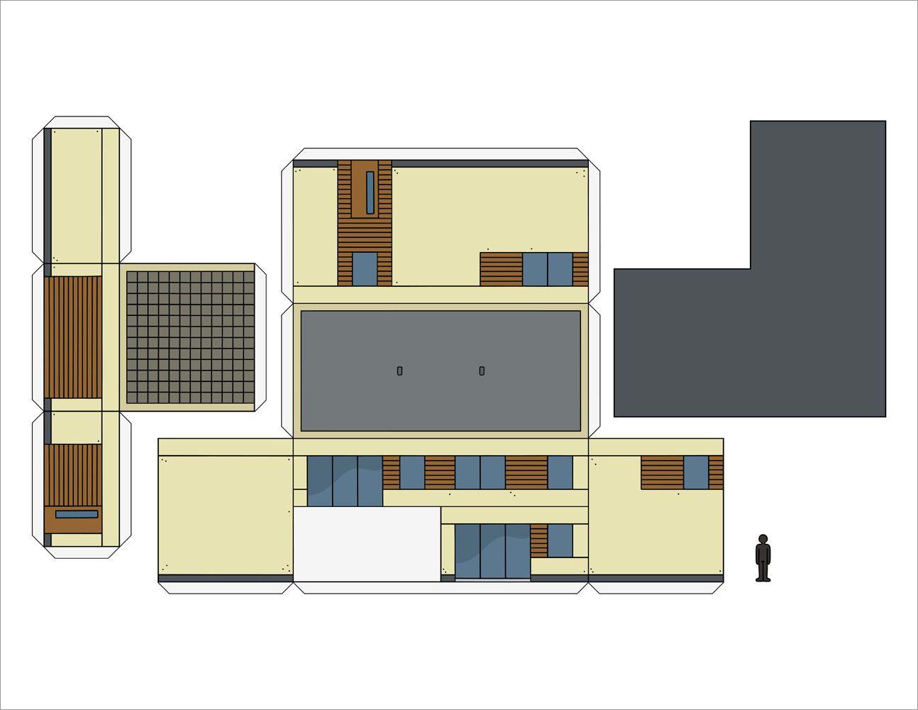 Papercraft Houses Papercraft Model Of A Modern House