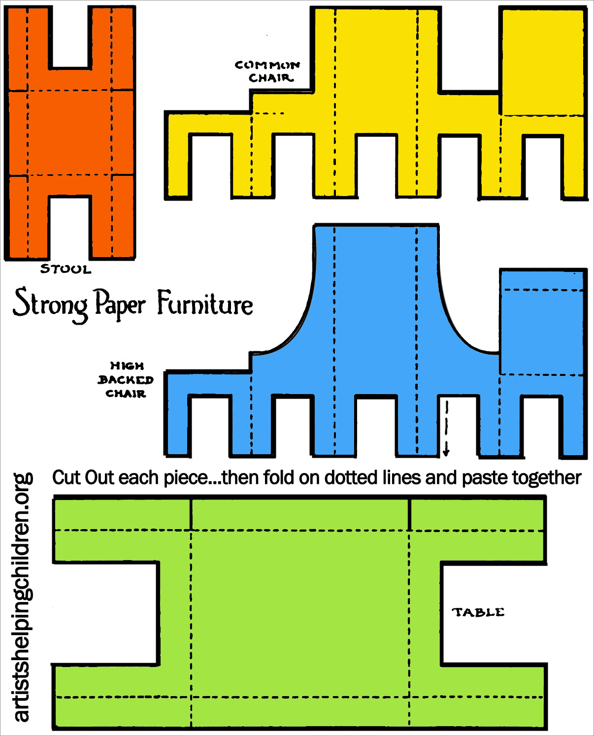 Papercraft Houses Printable Template Of House Furniture Papercraft