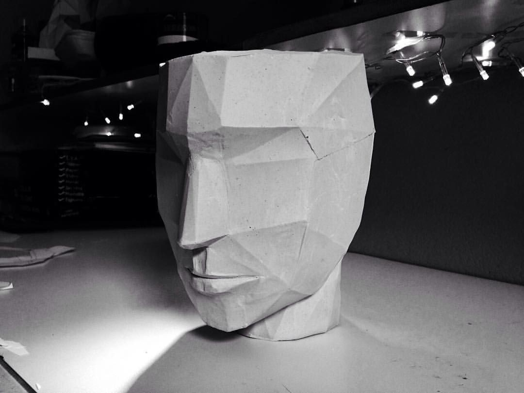 Papercraft Human Human Head Ensaio Gesso 2 Gesso Papercraft