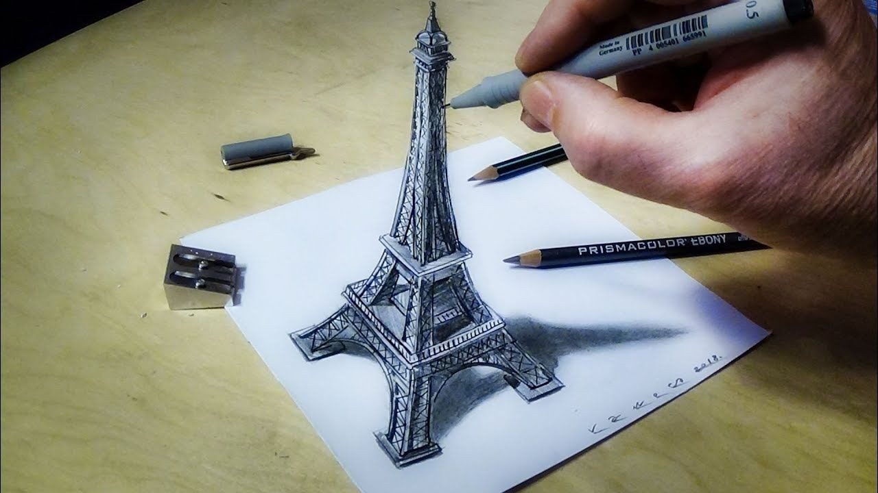 Papercraft Illusion ■Eiffel tower Illusion How to Draw Eiffel tower 3d Trick Art