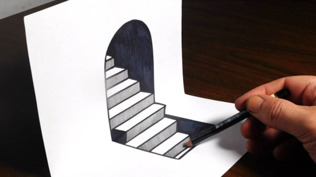 Papercraft Illusion How to Draw 3d Steps On Paper Easy Trick Art Optical Illusion