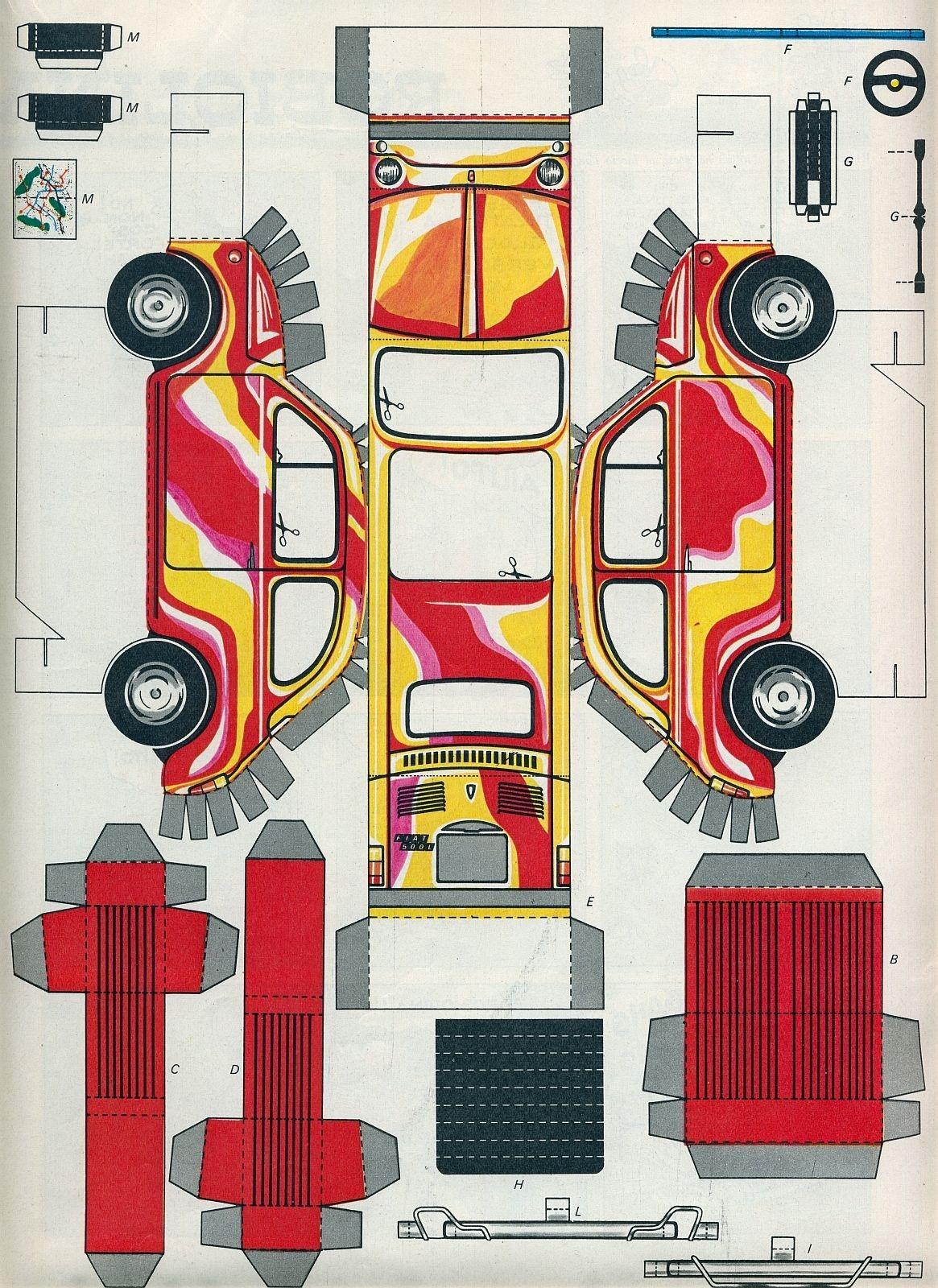 Papercraft Jeep Corrierino E Giornalino Gioco Della Fiat 500 L