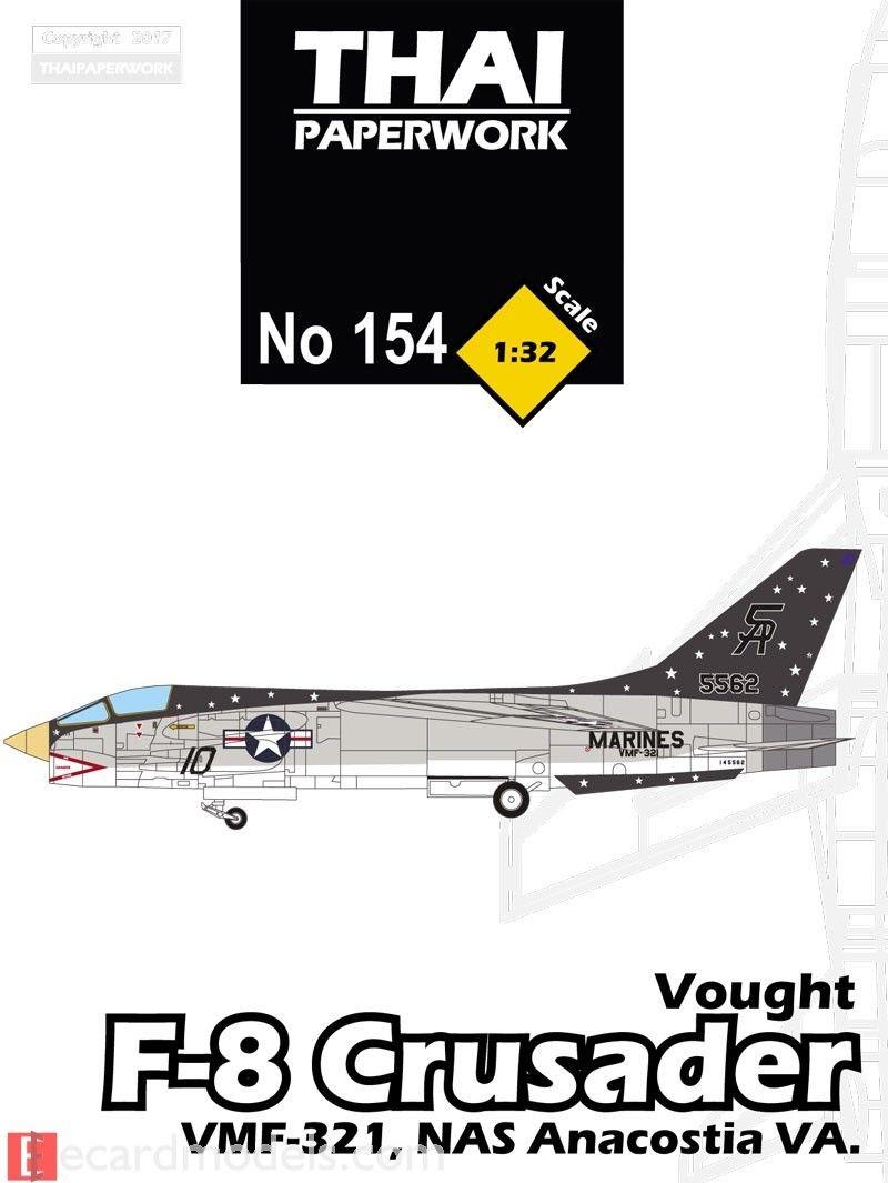 Papercraft Jet 1 32 Vought F 8 Crusader Vmf 321 Nas Anacostia Paper Model