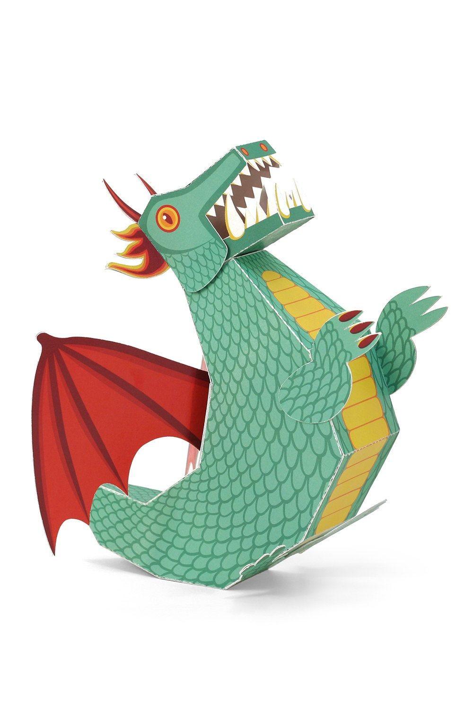 Papercraft Kits Green Dragon Paper toy Paper toys Diy Paper Craft Kit Di Pukaca