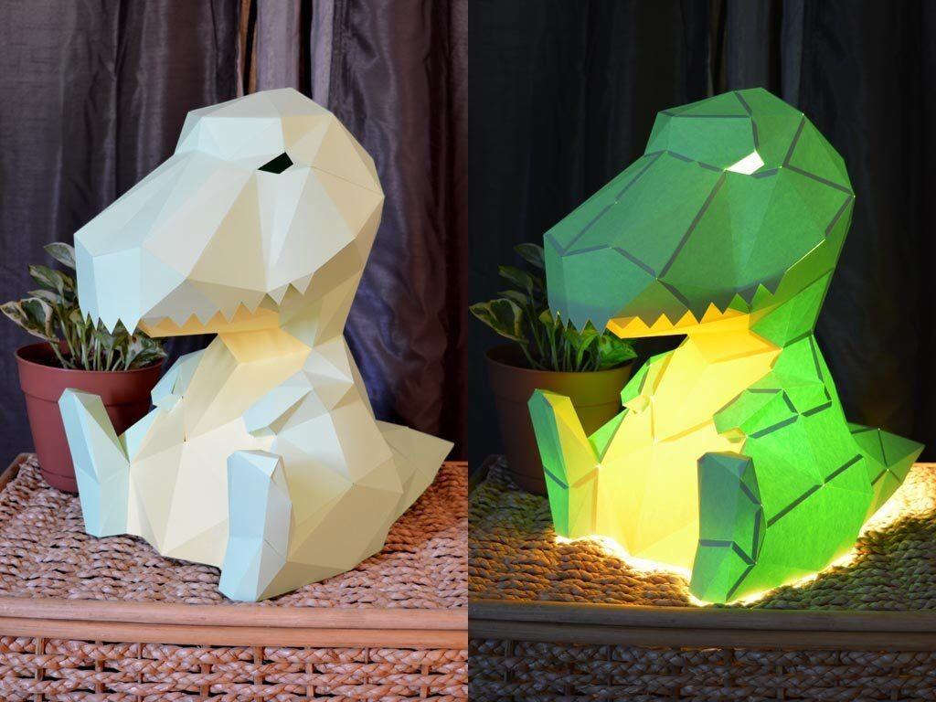 Papercraft Lantern T Rex Lamp Papercraft Pattern Diy Project Table Lamp
