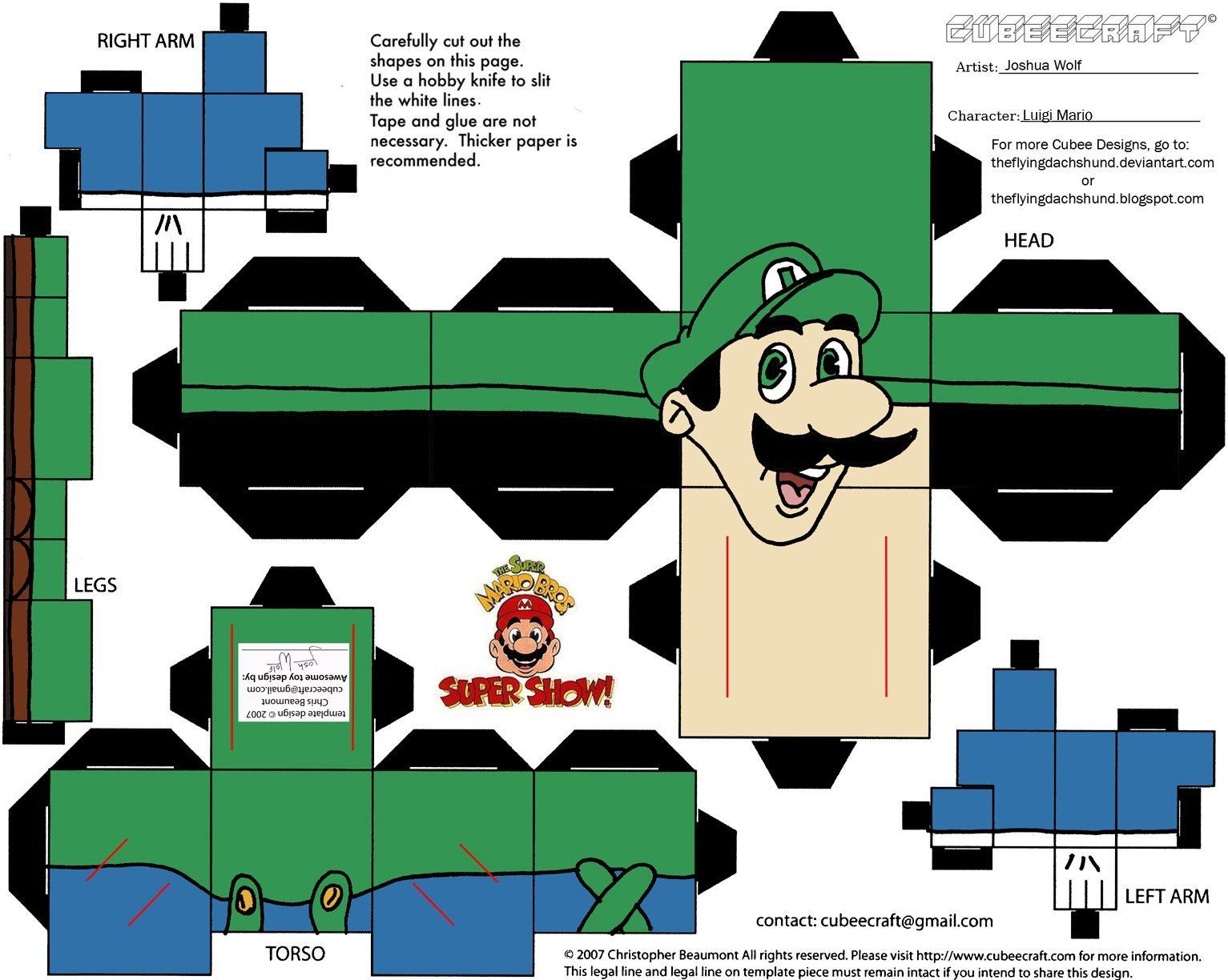 Papercraft Luigi Vg 3 Luigi Cubee by theflyingdachshund On Deviantart