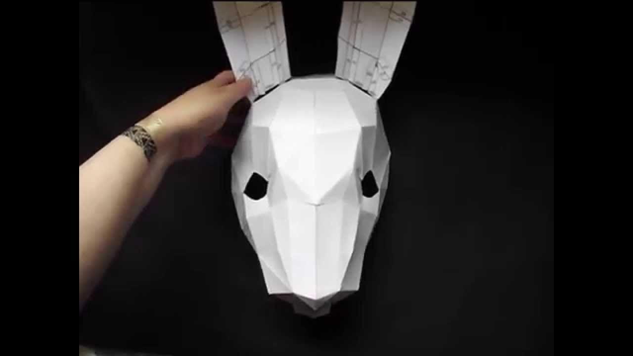 Papercraft Masks Building A Bunny Rabbit Mask Craft Demo From Polyfacet S Craft