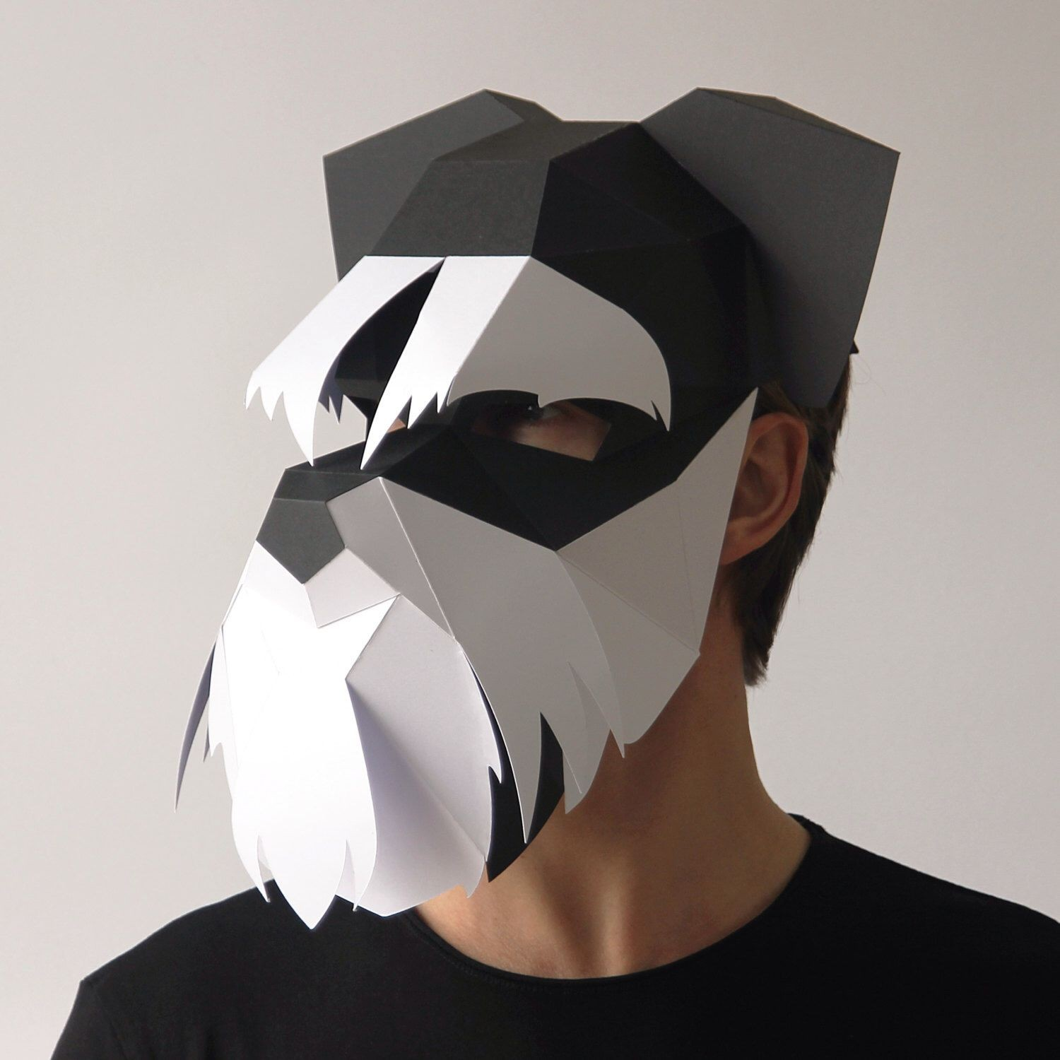 Papercraft Masks Dog Mask Build Your Own Schnauzer 3d Dog Mask From Card Using