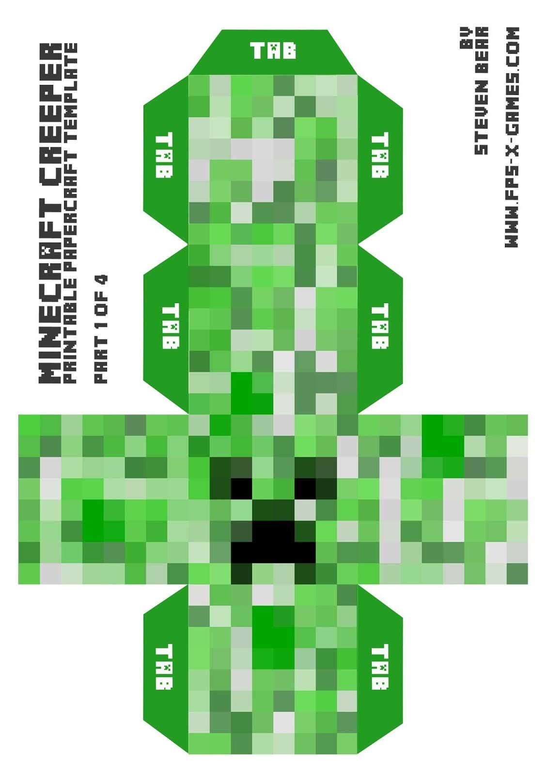 Papercraft Minecraft Game Herstellung Einer Großen Kriechpflanze Mit Papercraft Gunook
