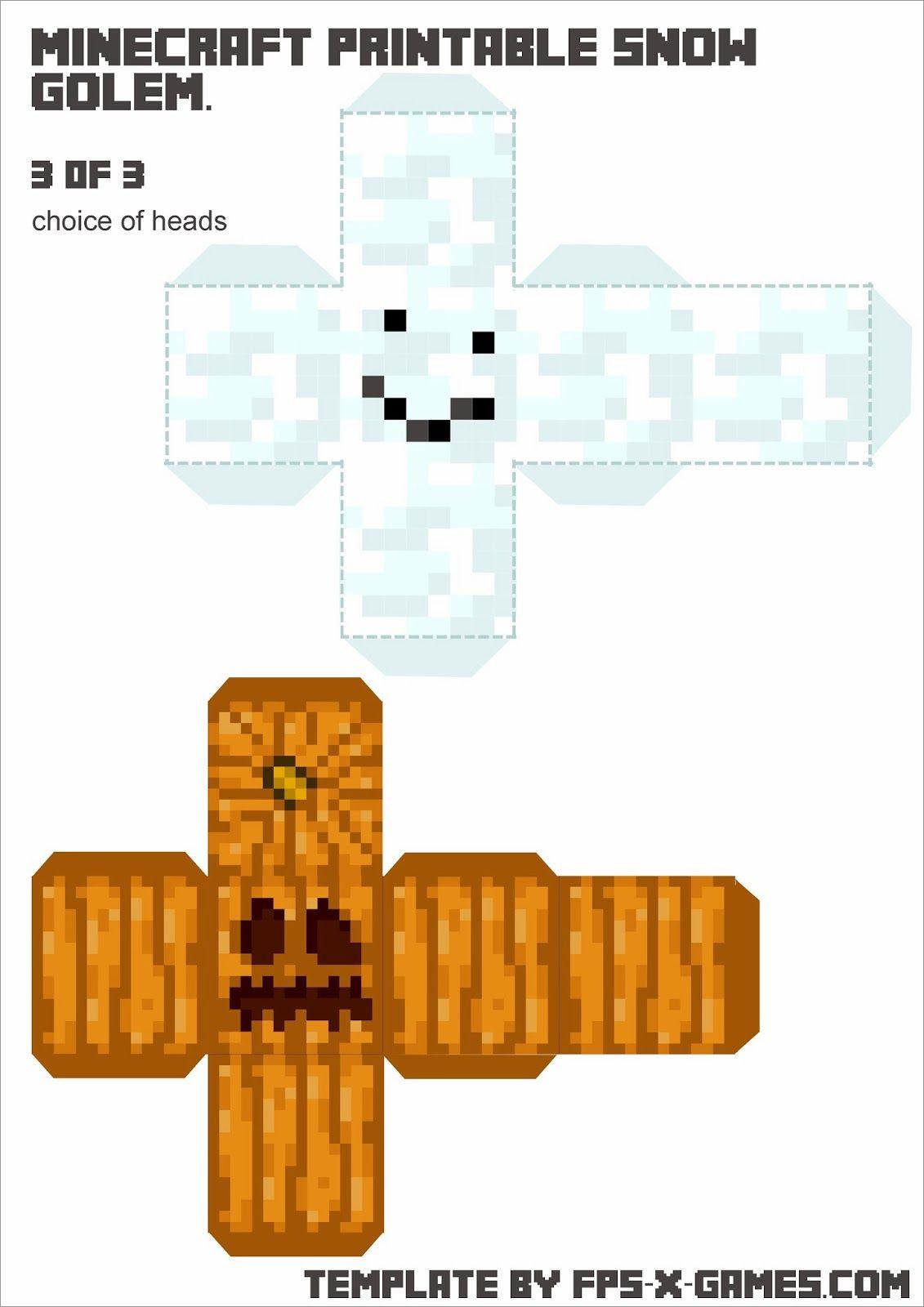Papercraft Minecraft Skins Minecraft Printable Snow Golem Papercraft