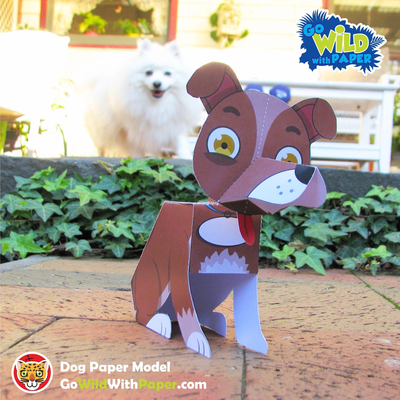 Papercraft Monkey Dog Craft Activity 3d Paper Model Juguetes Pinterest