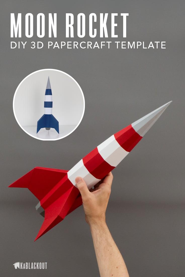 Papercraft Monkey Papercraft Rocket Template Diy Moon Rocket 3d Paper Spaceship Low