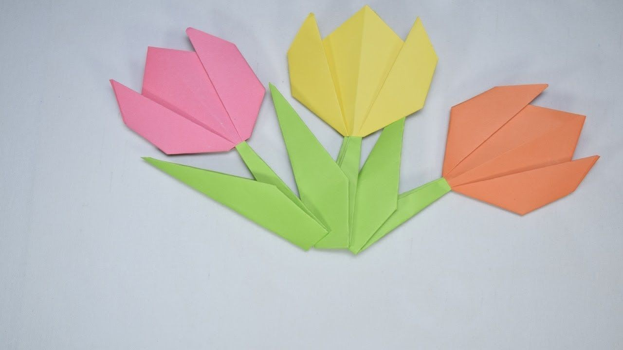 Papercraft origami Flowers origami Tulip Flower Paper Craft origami Pinterest