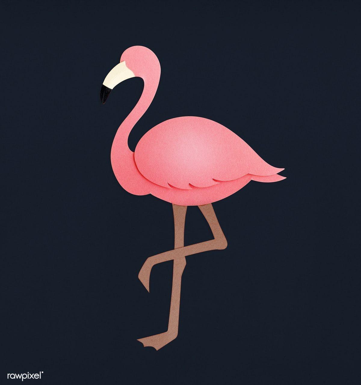Papercraft Paradise Pink Flamingo Paper Craft Premium Image by Rawpixel