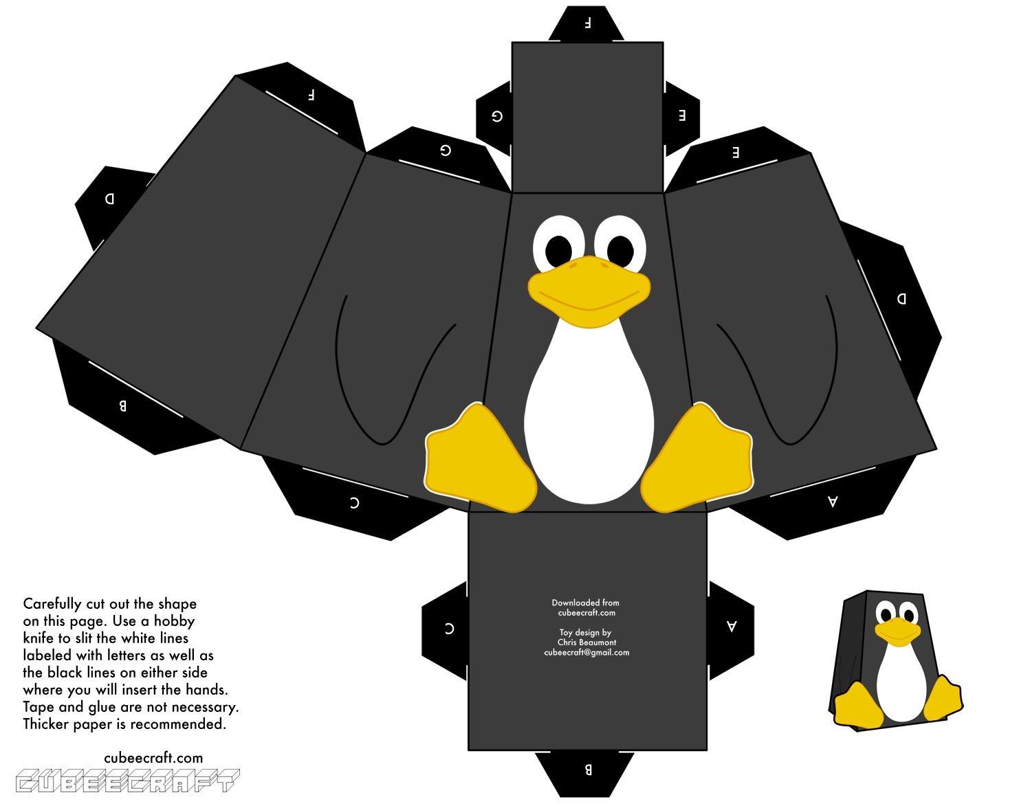 Papercraft Penguin Papercraft Y Cubeecraft Para Armar Paper Figurines