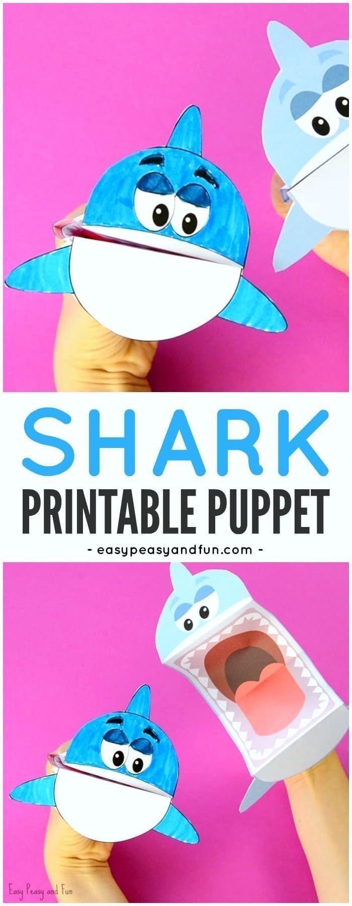 Papercraft Phone Printable Shark Puppet Art Kids Diys Pinterest