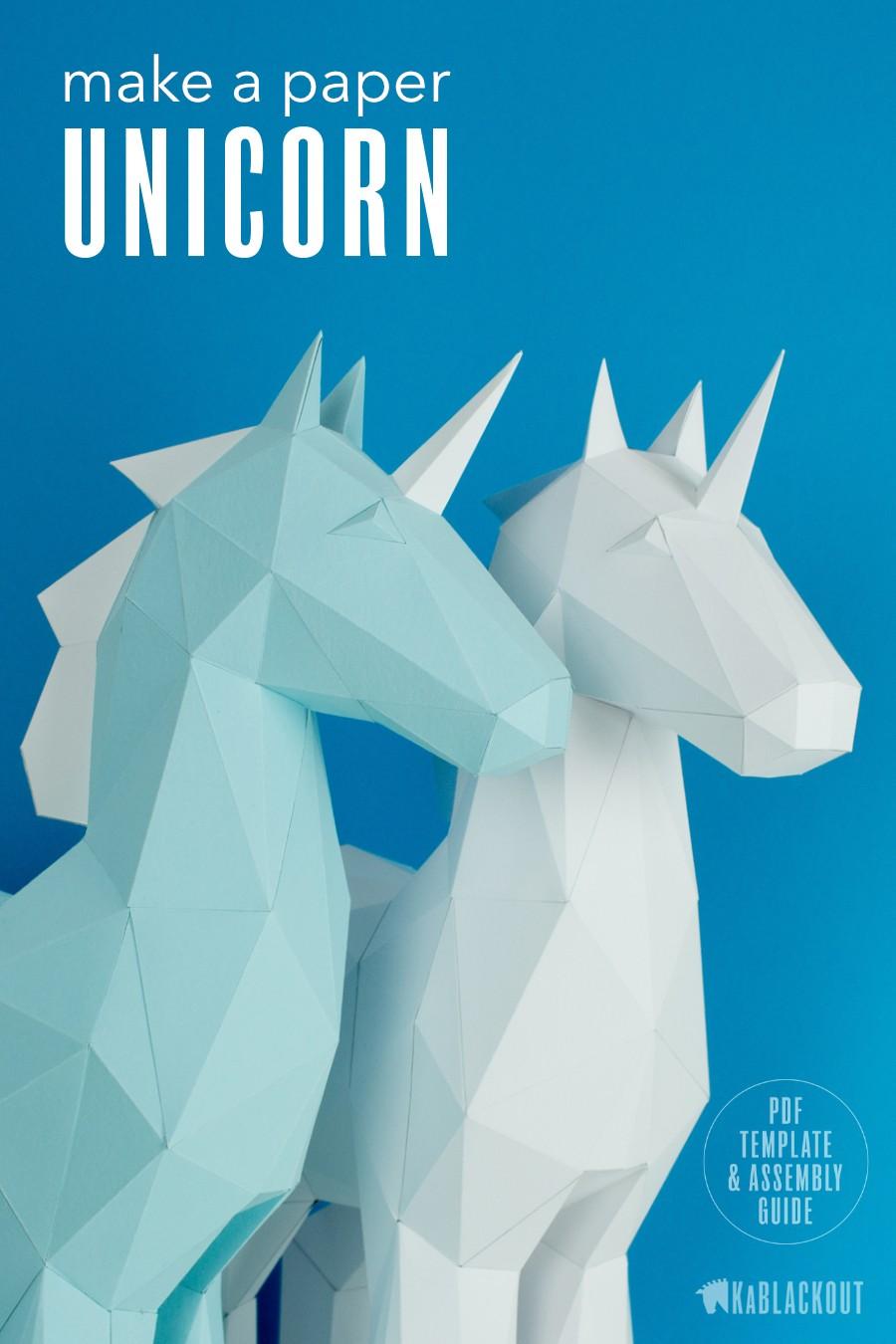 Papercraft Rabbit Papercraft Unicorn Template Diy Unicorn Papercraft Low Poly