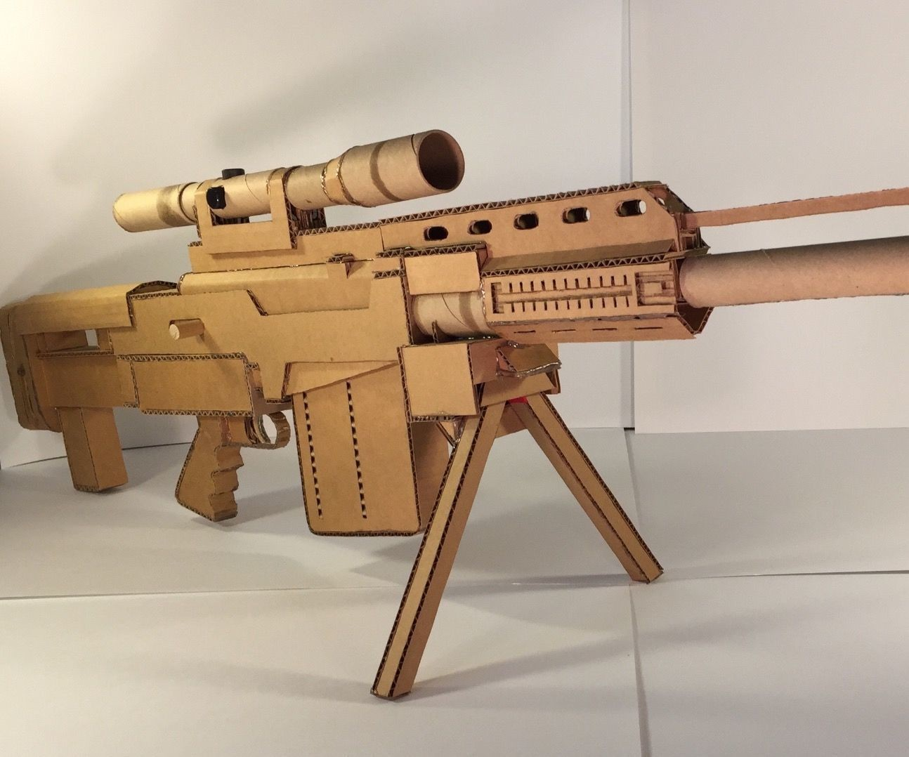 Papercraft Revolver Fully Functioning Cardboard as 50 Sniper Rifle