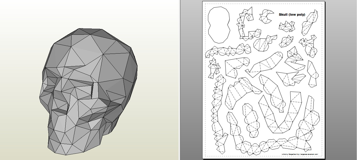 Papercraft Skull Pdf Rhino Papercraft」的圖片搜尋結果 Polygon Animals