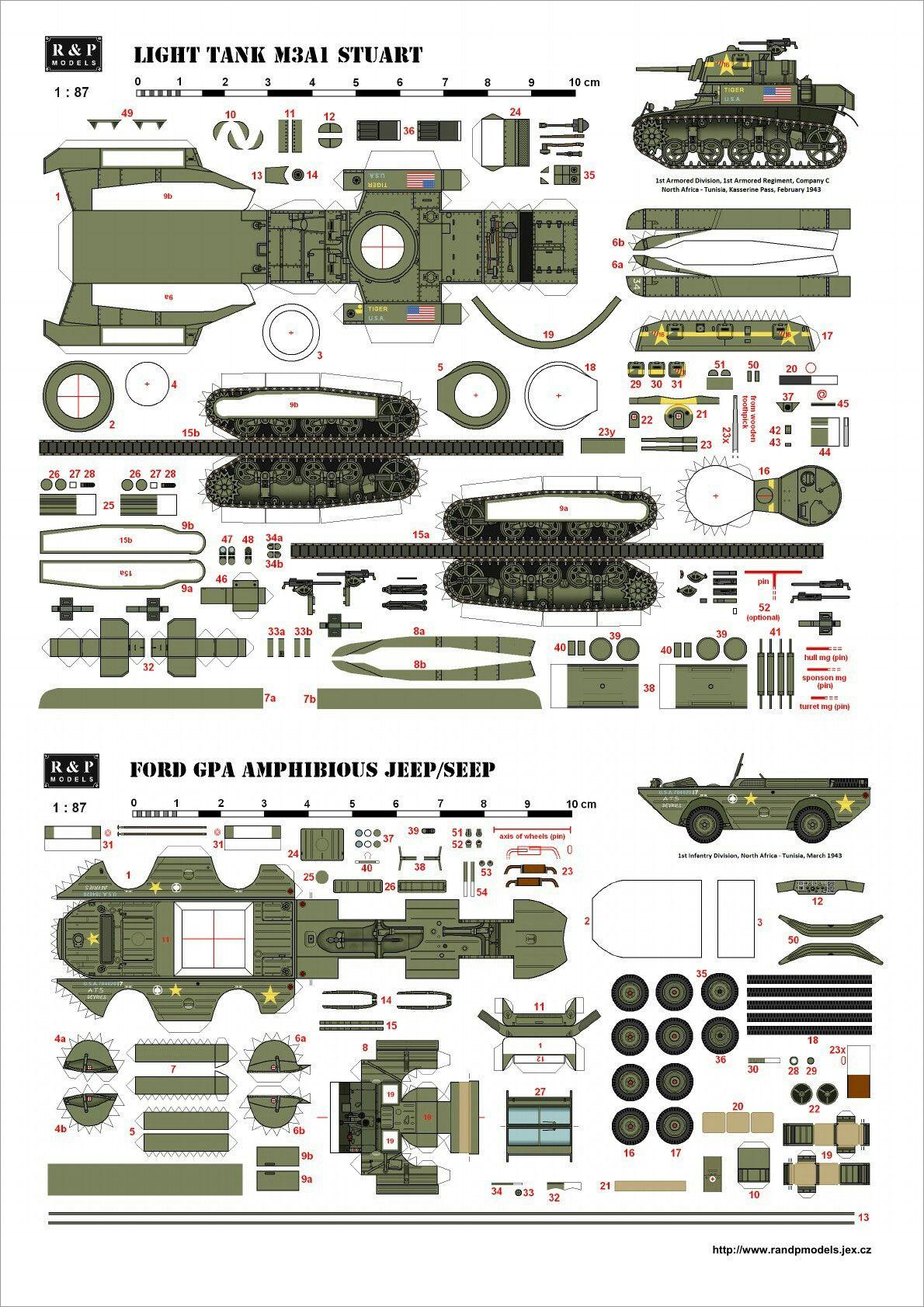 Papercraft Tank Light Tank M3a1 Stuart Papercraft
