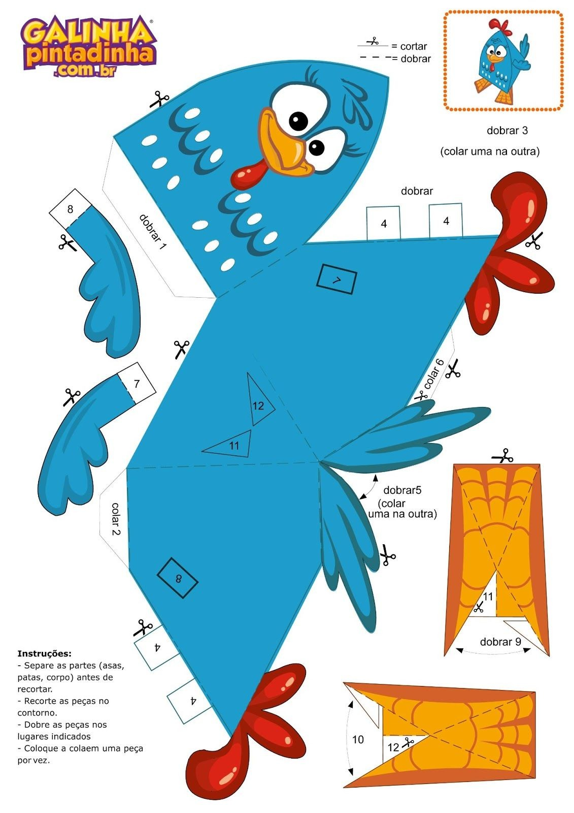 Papercraft toy Kit Festa Galinha Pintadinha Para Imprimir Grátis