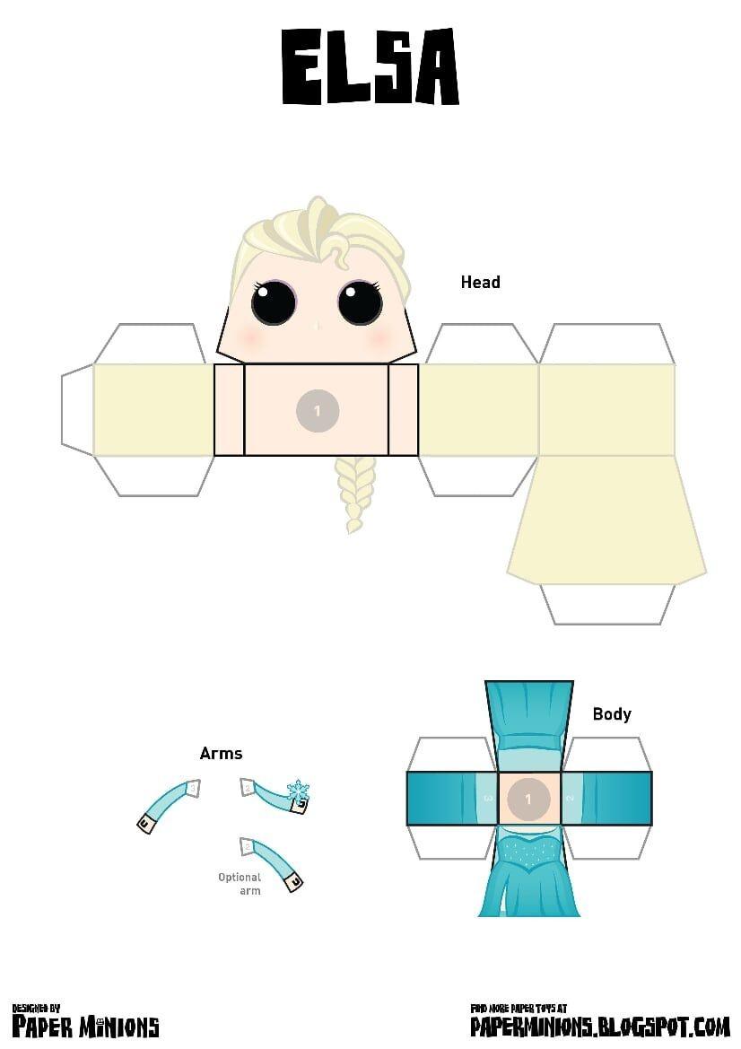 Papercraft toy Paperminions Elsa Pdf Edrive Paper toys Pinterest