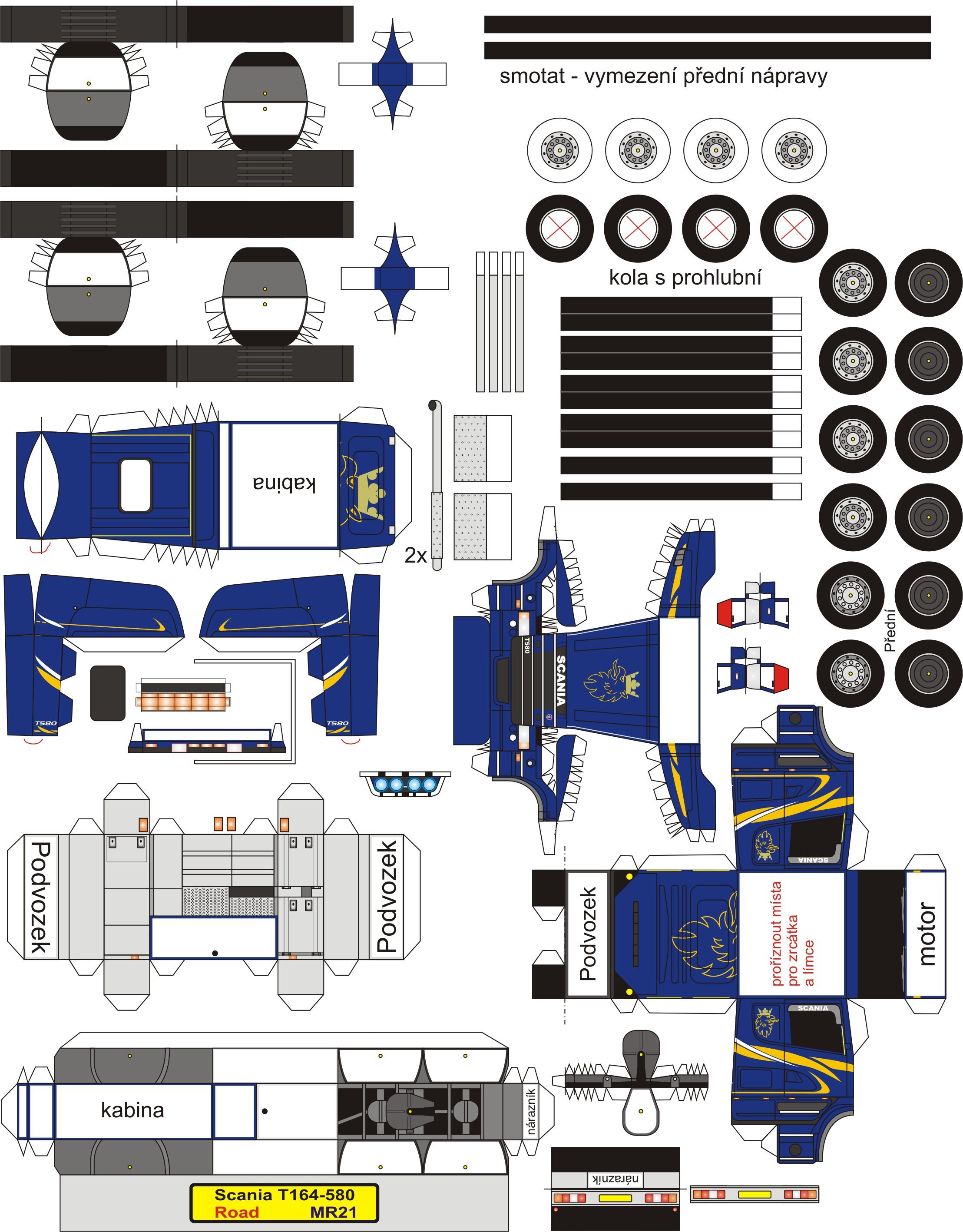 Papercraft Truck Mr21 Scania T164 580 2217—2836 Paper Trucks