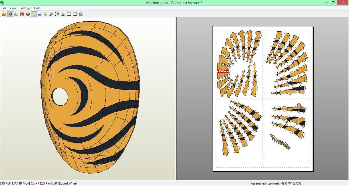 Papercraft Viewer Masked Man Mask Papercraft [download] by Sibor Viantart