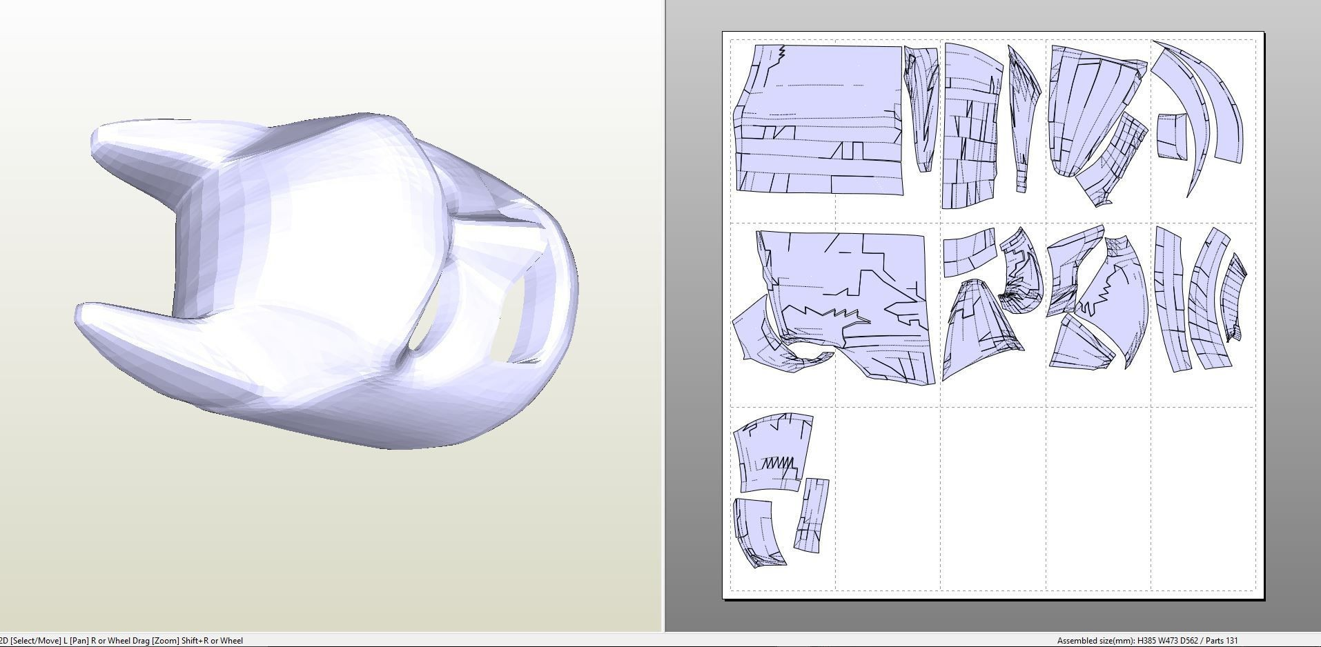 Papercraft Viewer Papercraft Pdo File Template for Lego Batman Cowl Foam