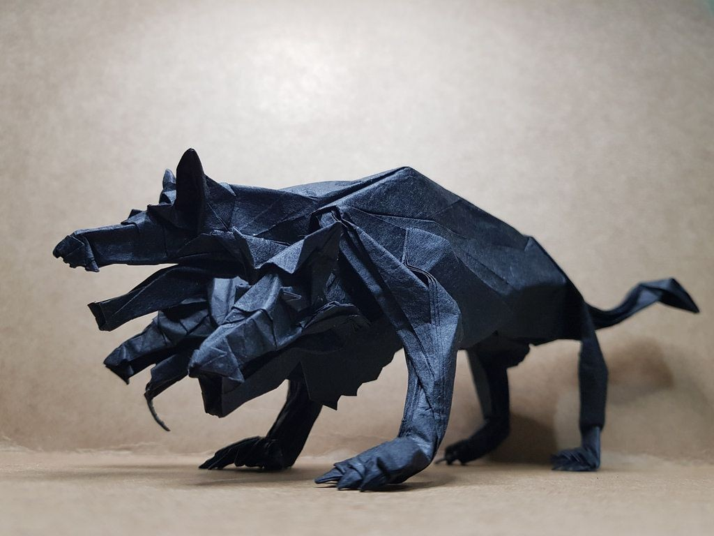 Papercraft Wolf Cerberus by Kim Ju Hyun origami