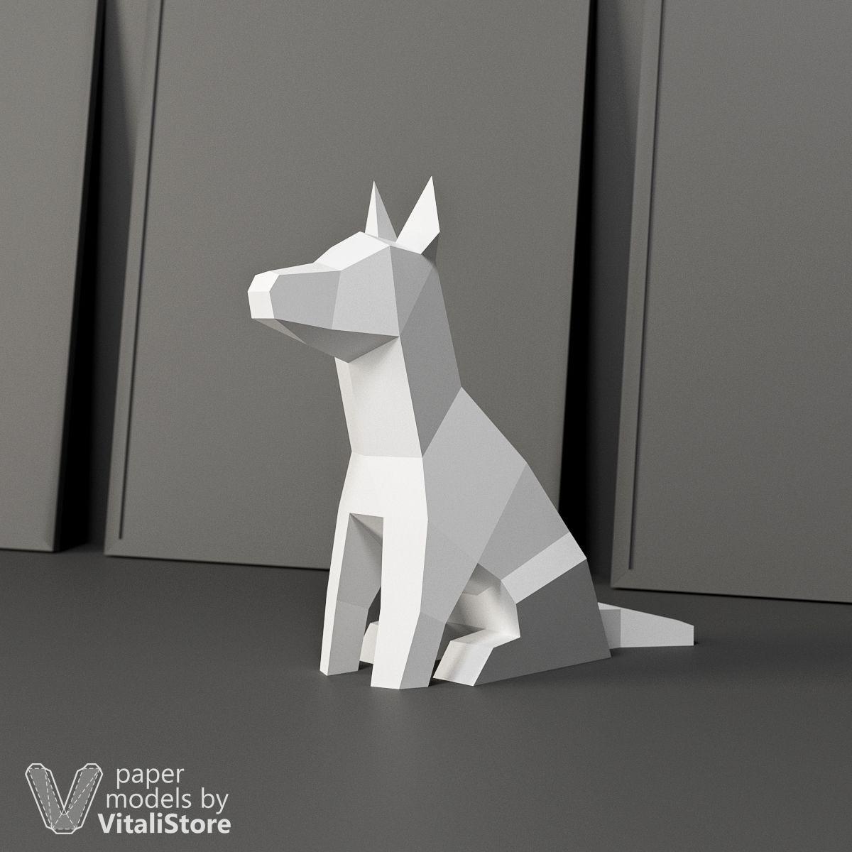 Papercraft Wolf Sitting Dog Papercraft Dog Diy Gift Christmas Gift Paper Craft