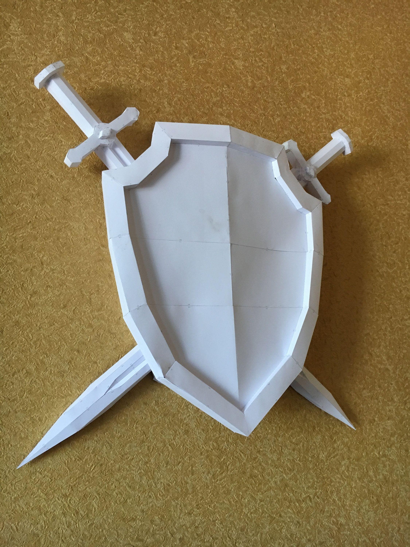 Papercraft Wolf Sword Shield Diy Papercraft Model Бумажные издеРия