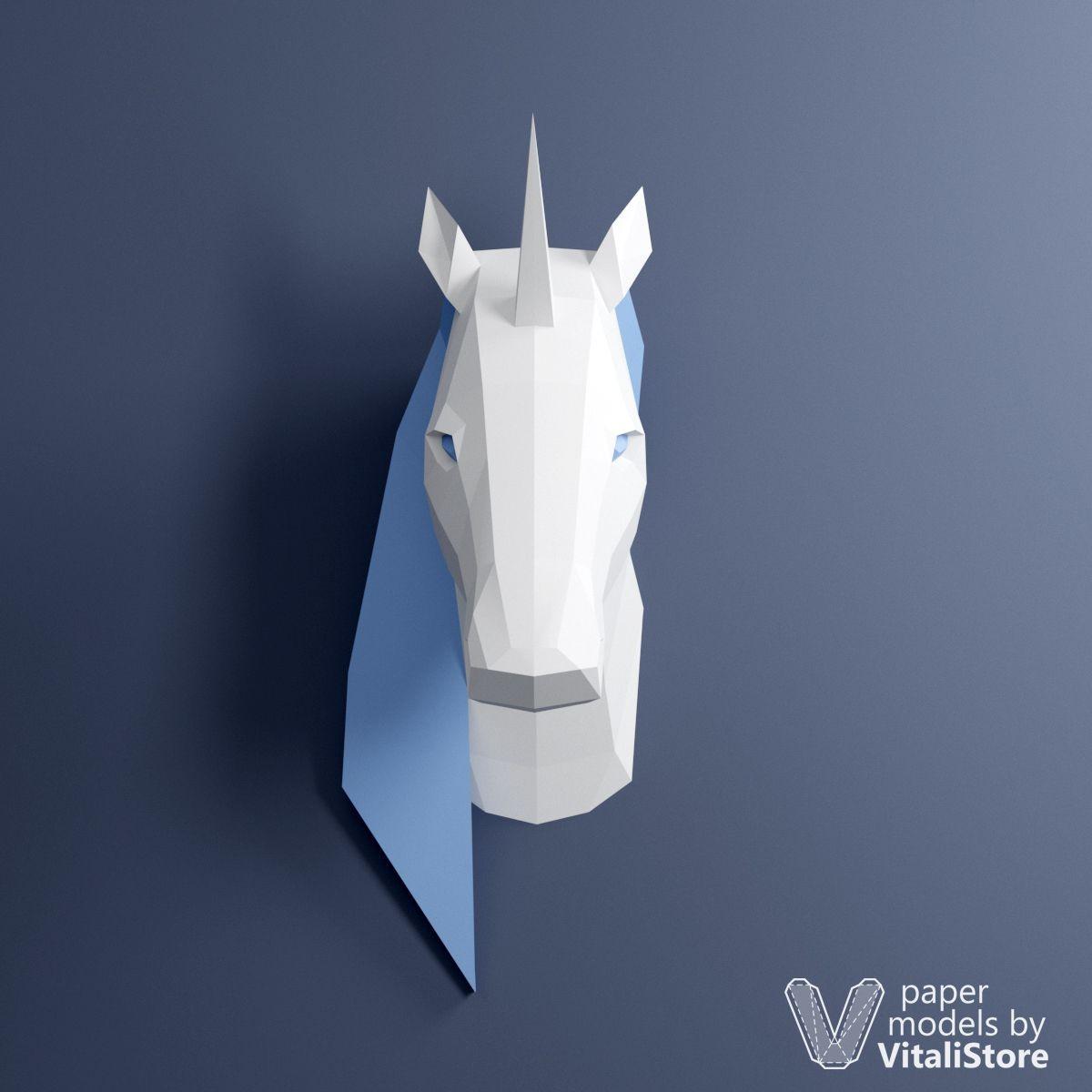 Papercraft Wolf Unicorn Papercraft 3d Paper Sculpture Wall Decor