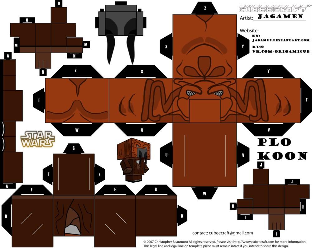 Papercraft Zombie Papertoy Star War Plo Koon Fer Cubeecraft Paper