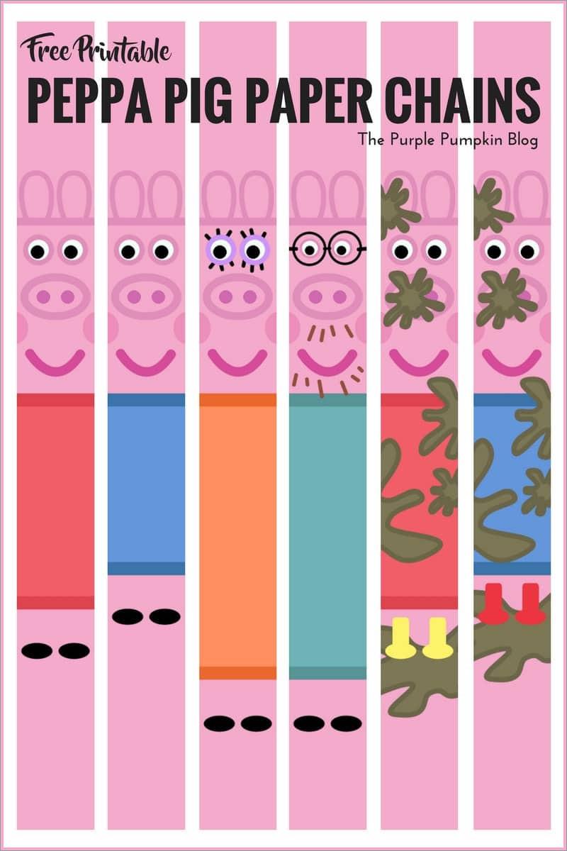 Pig Papercraft Peppa Pig Paper Chains Free Printables Papercraft