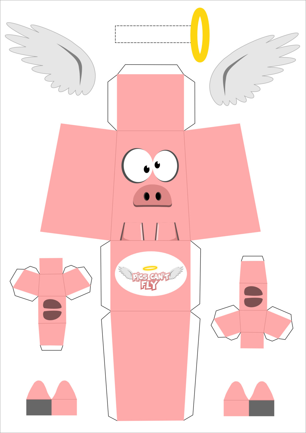 Pig Papercraft Pig Can't Fly Paper Craft