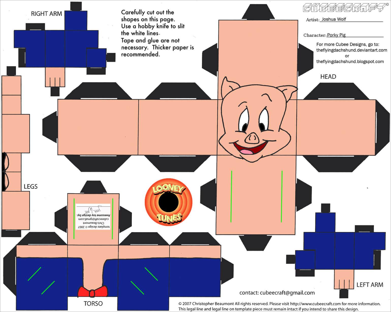 Pig Papercraft Porky Pig Papercraft