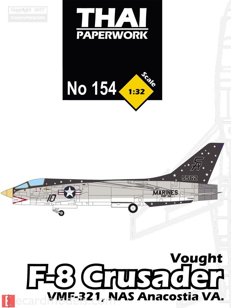 Plane Papercraft 1 32 Vought F 8 Crusader Vmf 321 Nas Anacostia Paper Model
