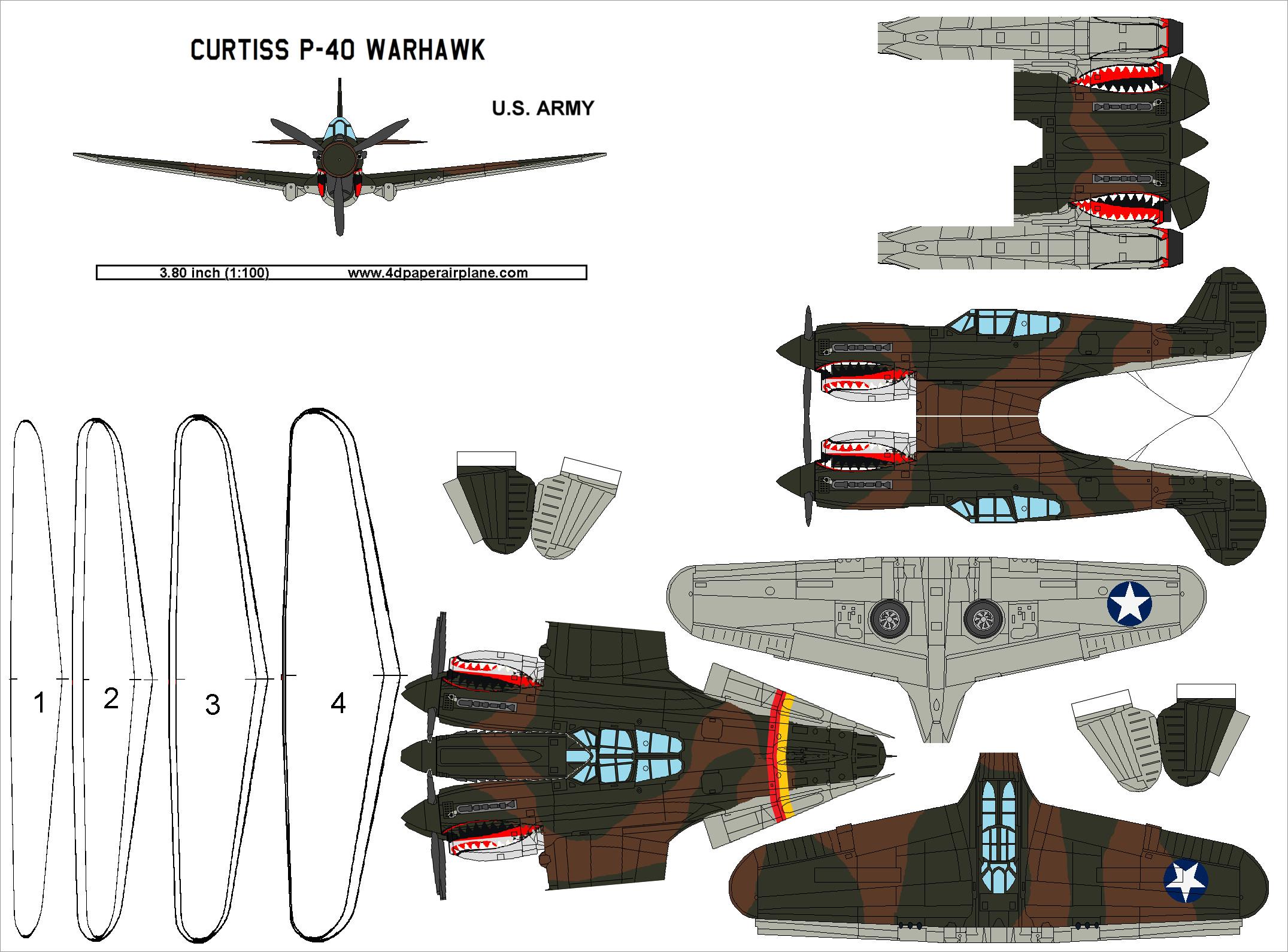 Plane Papercraft Us Army Curtiss P 40 Warhawk Plane Papercraft