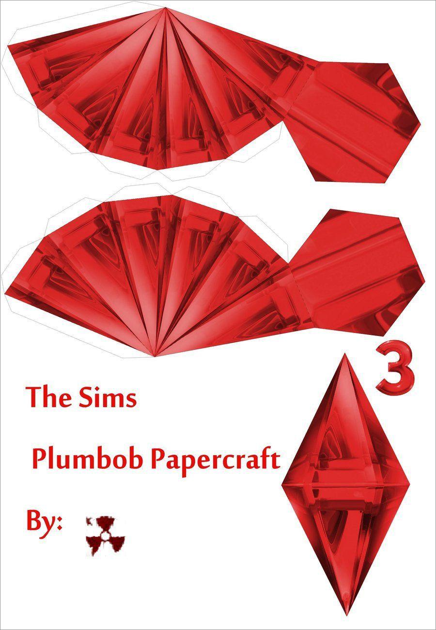 Plumbob Papercraft the Sims Red Plumbob Papercraft Template