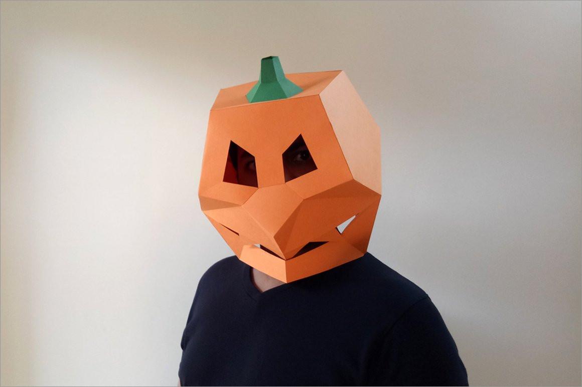 Pumpkin Papercraft Diy Pumpkin Mask 3d Papercraft