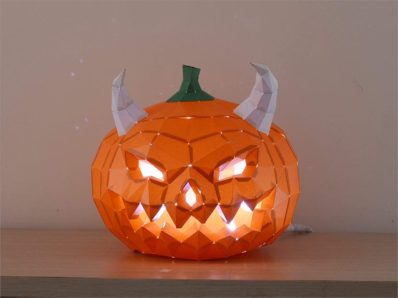 Pumpkin Papercraft Halloween Pumpkin Diy Papercraft Lamp Kit
