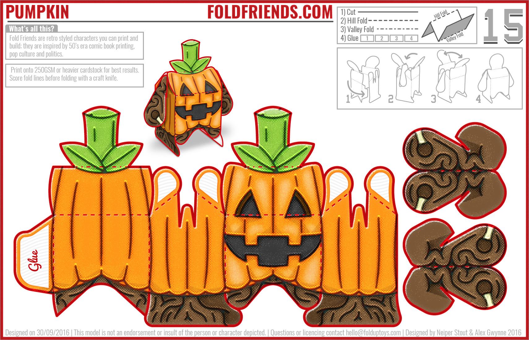 Pumpkin Papercraft Halloween toys 2 Pumpkin Monster Papercraft