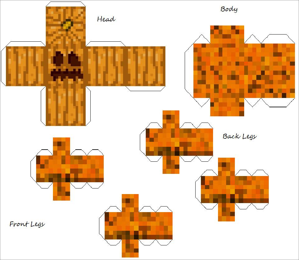 Pumpkin Papercraft Pumpkin Creeper Golam Minecraft Papercraft