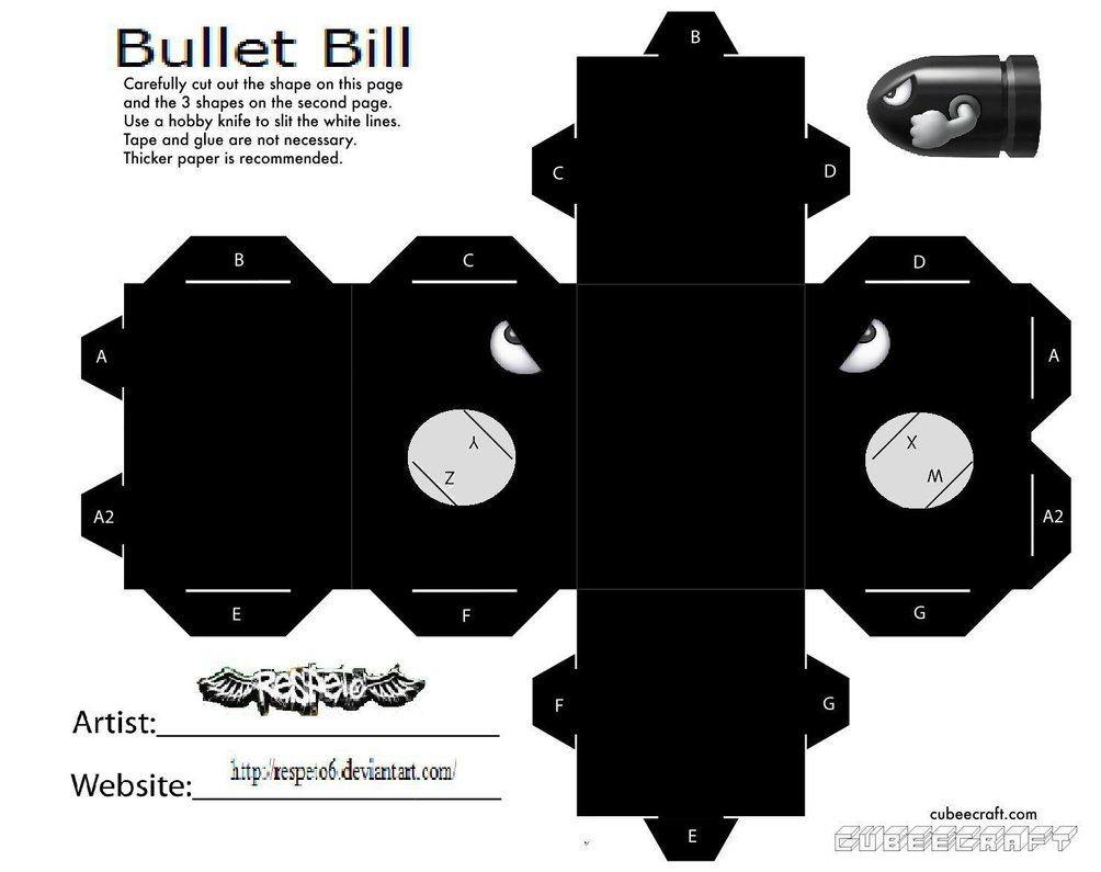 R2d2 Papercraft Bullet Bill Mario Cubeecraft Papercraft by Marcokobashigawa On