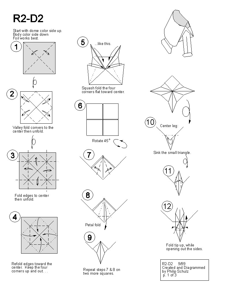 R2d2 Papercraft Paper Star Wars origami Diagrams